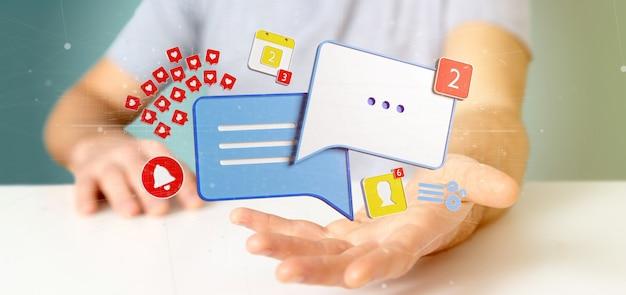 Geschäftsmann, der mitteilung und mitteilungen der wiedergabe des social media 3d hält