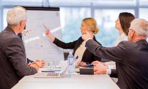 Geschäftsmann, der neues projekt partnern im büro vorstellt