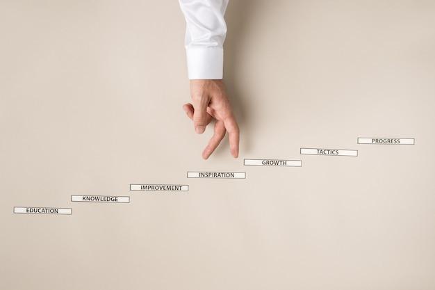 Geschäftsmann, der seine finger papierstufen mit motivierenden geschäftszeichen in einem konzeptuellen bild der persönlichen und beruflichen entwicklung hinaufgeht.