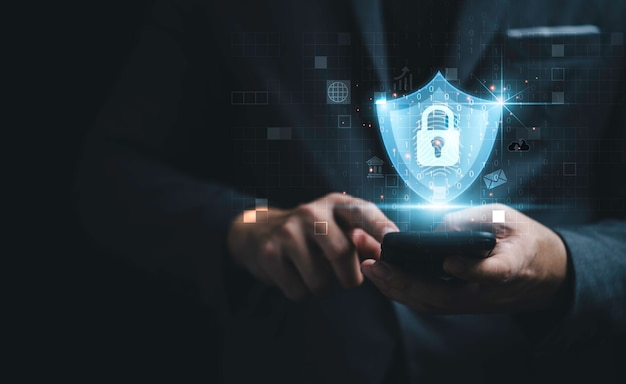 Geschäftsmann, der smartphone verwendet, um auf biometrische daten durch eingabe von passwort oder fingerabdruckscanner für zugangssicherheitssystem zuzugreifen, futuristisches technologiekonzept.