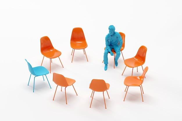 Geschäftsmann, der um orange stuhl sitzt und zwischen blauem stuhl schaut.