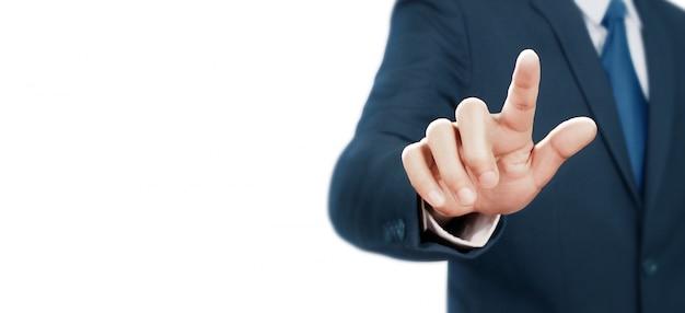 Geschäftsmann, der virtuellen bildschirm berührt
