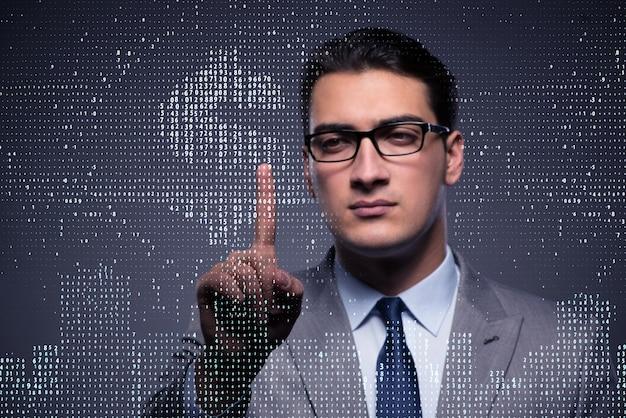Geschäftsmann, der virtuellen knopf mit dollar bedrängt