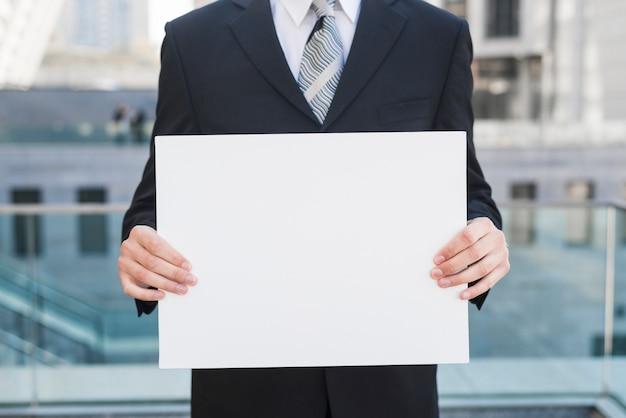 Geschäftsmann, der weißbuch hält