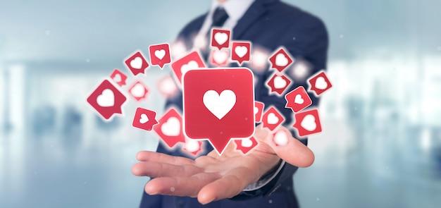 Geschäftsmann, der wie mitteilung auf social media hält