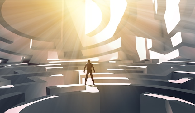 Geschäftsmann der wiedergabe 3d, der über einem labyrinth steht