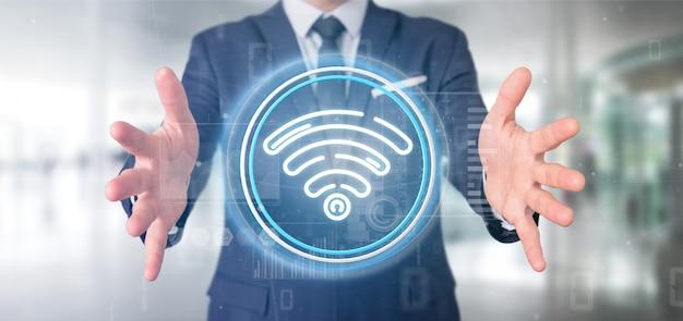 Geschäftsmann, der wifi-ikone mit wiedergabe der statistiken und des binärcodes 3d hält
