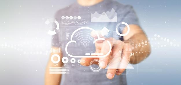Geschäftsmann, der wolken- und wifi-konzept mit ikone, statistiken und daten hält
