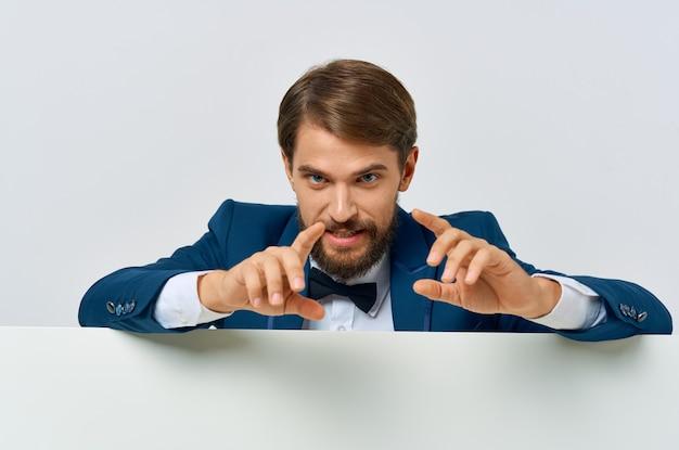 Geschäftsmann emotion präsentation weißen mocap poster werbung executive.