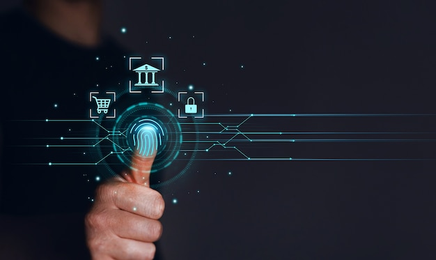 Geschäftsmann fingerabdruck scannt persönlichen sicherheitszugang mit biometrischer identifizierung innovation biometrische technologie und finanzielle sicherheit