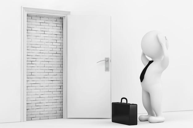 Geschäftsmann gestresst in der nähe von weiß geöffnete tür blockiert mit mauer extreme nahaufnahme 3d-rendering