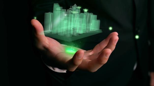 Geschäftsmann hält 3d-stadtmodell, das augmented-reality-technologie zeigt