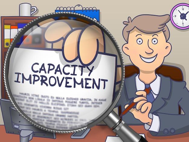 Geschäftsmann im anzug hält ein konzept zur verbesserung der papierkapazität durch lupe. nahaufnahme. farbige moderne linie illustration im doodle-stil.