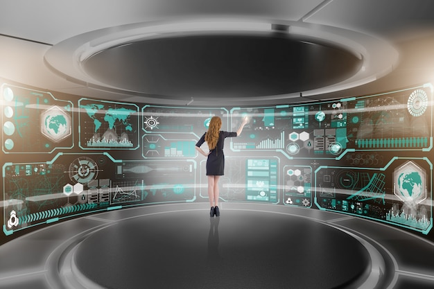 Geschäftsmann im big data management-konzept