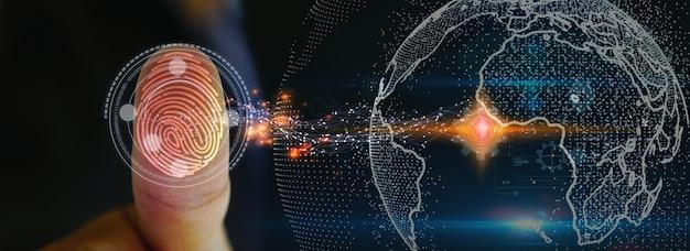 Geschäftsmann-login mit fingerabdruck-scan-technologie. fingerabdruck zur identifizierung von personen, sicherheitssystemkonzept