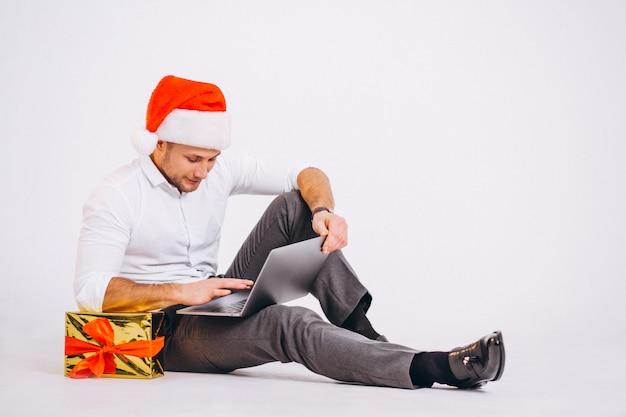 Geschäftsmann lokalisiertes einkaufen auf weihnachten online