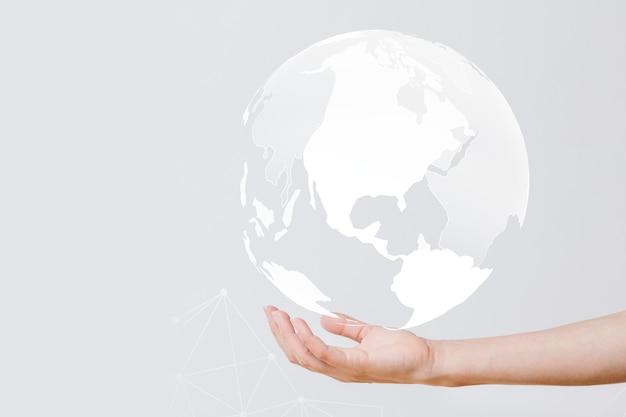 Geschäftsmann mit dem globus in der hand