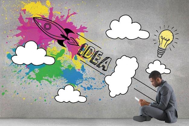 Geschäftsmann mit dem kreative illustration sitzt