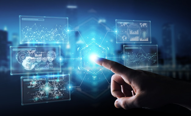 Geschäftsmann mit digitaler bildschirmschnittstelle mit hologrammdaten, 3d-rendering