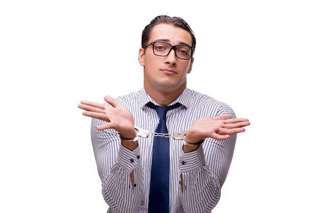 Geschäftsmann mit handschellen gefesselt lokalisiert auf weiß