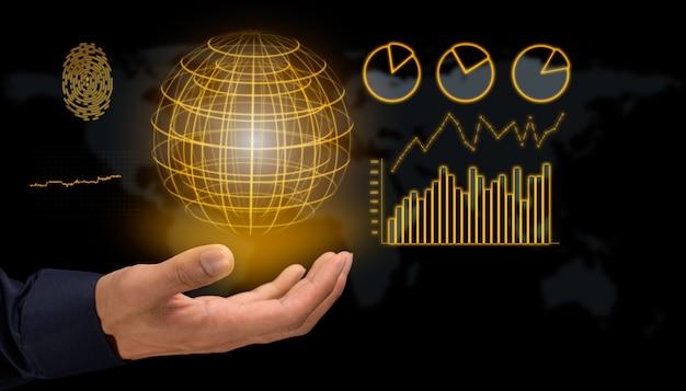 Geschäftsmann mit hologramm-anzeige aktieninvestitionswachstumsdiagramm