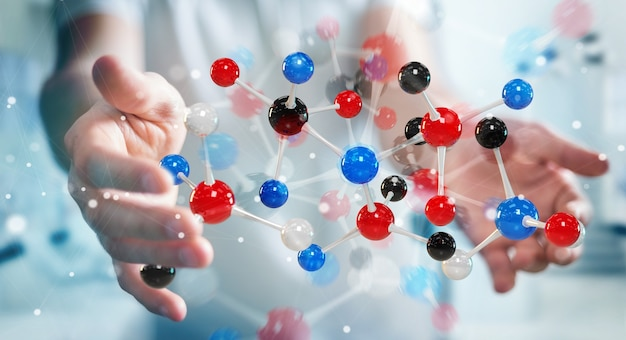 Geschäftsmann mit moderner molekülstruktur, 3d-rendering