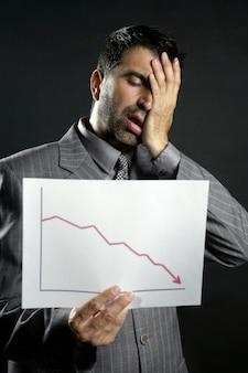Geschäftsmann mit schlechtem verkaufsberichtsdiagramm