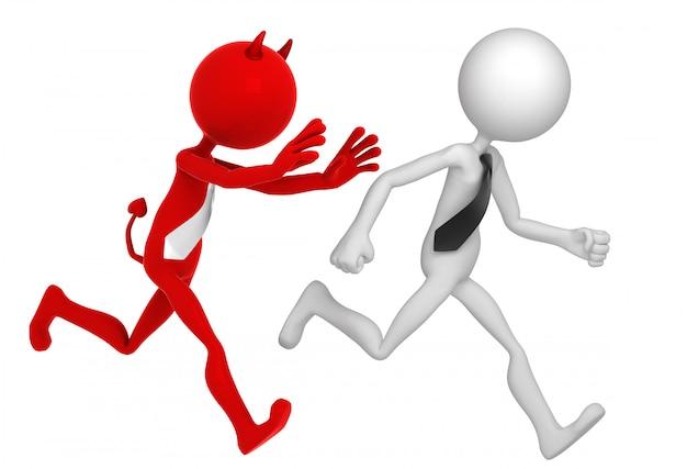 Geschäftsmann rennt von businessdevil weg.