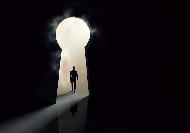 Geschäftsmann silhouette stehend vor der schlüssellochtür concept.3d illustration
