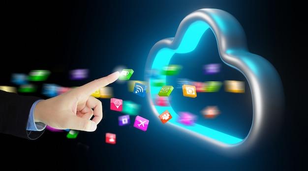 Geschäftsmann überträgt daten in den cloud-speicher