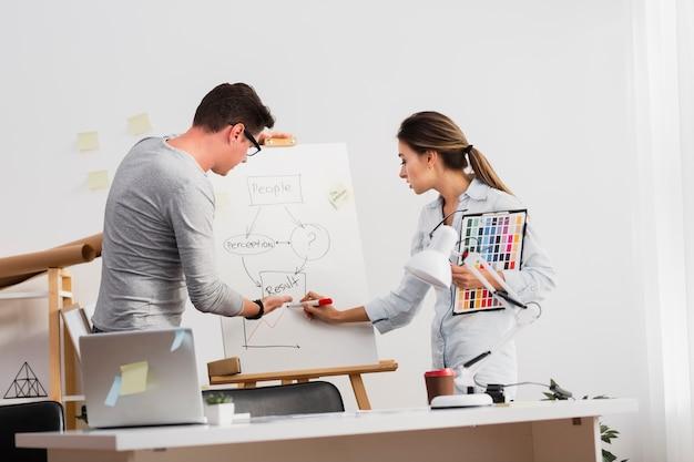 Geschäftsmann und frau, die an einem diagramm arbeiten