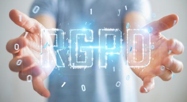 Geschäftsmann unter verwendung der digitalen wiedergabe der gdpr-schnittstelle 3d