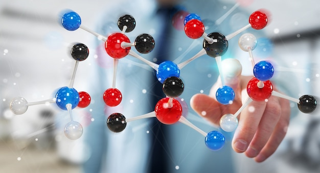 Geschäftsmann unter verwendung der modernen molekülstruktur