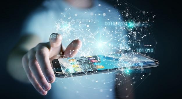 Geschäftsmann unter verwendung des digitalen binären codes an der wiedergabe des handys 3d