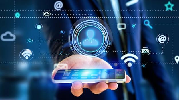 Geschäftsmann unter verwendung eines smartphone mit einer kontaktikone, die durch app und sozialikone umgibt - 3d übertragen