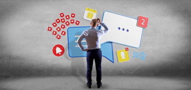 Geschäftsmann vor einer colorfull teamwork des sozialen netzes mit wiedergabe der ikone 3d