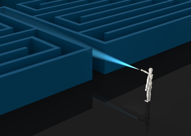 Geschäftsmann vor riesigem labyrintheingang, geschäftskonzeptillustration
