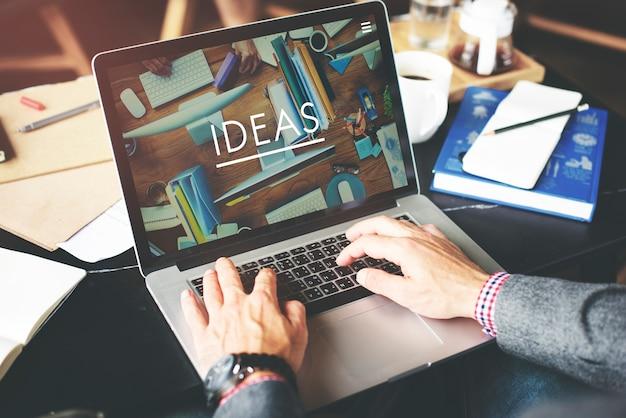 Geschäftsmann-working ideas-kreatives arbeitsplatz-konzept