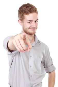 Geschäftsmann zeigt mit dem finger auf sie