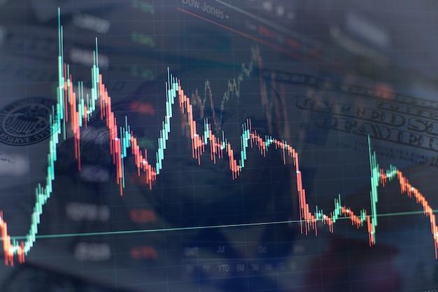 Geschäftsmannhand, die an der analyse von investitionsdiagrammen für den goldmarkt, den devisenmarkt und den handelsmarkt arbeitet.