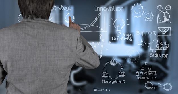 Geschäftsmannhand, die mit neuem modernem computer und geschäftsstrategie arbeitet
