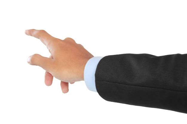 Geschäftsmannhand, die virtuellen bildschirm drückt