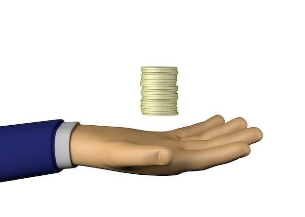 Geschäftsmannhand mit münzen. verdienste. 3d-darstellung.
