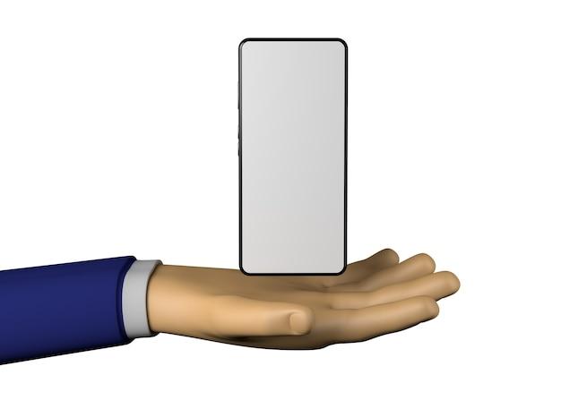 Geschäftsmannhand mit smartphone mit weißem bildschirm. 3d-darstellung.
