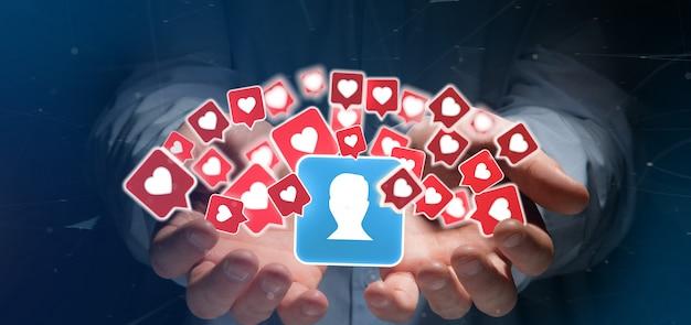Geschäftsmannholding mögen mitteilung über einen kontakt auf einem social media