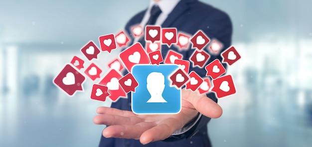 Geschäftsmannholding mögen mitteilung über einen kontakt auf einer wiedergabe des social media 3d