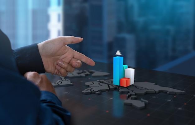 Geschäftsmannshow-diagrammgewinn auf digitalem weltkartenschirm