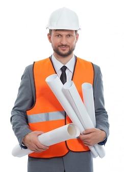 Geschäftsmannunternehmer, der schützenden hardhat und leuchtstoffweste trägt.