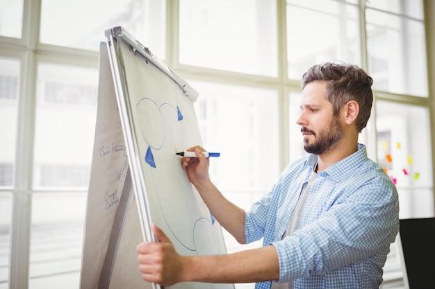 Geschäftsmannzeichnungsdiagramm auf whiteboard im kreativen büro