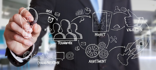 Geschäftsmannzeichnungsmanuskript-projektdarstellung